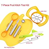 7-Piece Fruit and Veggie Prep Kit Kitchen Tool Sets - Melon Baller + Kiwi Scooper + Carving Knife + Apple Slicer + Fruit Knife + Paring Knife + Fruit Chopping Block for Fruit Salad Party Decoration