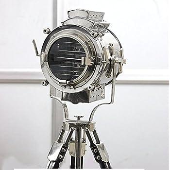 Nautical Black Tripod Spot Light Chrome Searchlight