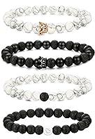 Couples Bracelet--FIBO STEEL 4 Pcs Beaded Couples Bracelet for Men Women Distance Crown Bracelets Set Adjustable 8MM Beads
