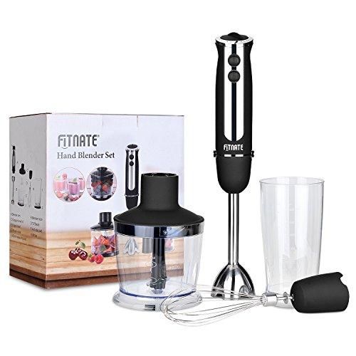 Fitnate 4 in 1 Immersion Hand Blender Stick Mixer 5 Speed Smart Blender Set with Chopper & Whisk & Beaker Set, Super Strong Motor, 350W