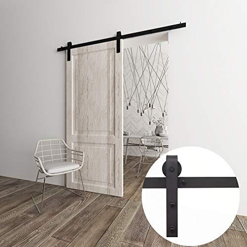 VANCLEEF 5-16FT Antique Single Barn Wood Door Hardware Track Rail Kit, Classic Design Roller, Black Rustic, for Bathroom, Bedroom, Closet, Interior and Exterior Use (7FT Single Door Kit)