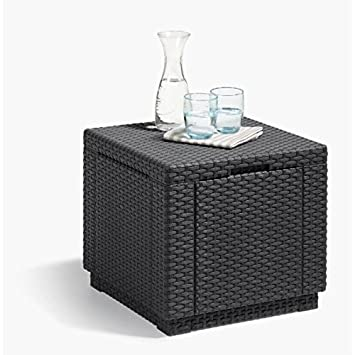 ALLIBERT JARDIN Table cube imitation rotin tressé avec rangement de ...