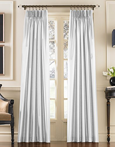 Marquee Faux Silk Pinch Pleat/Back Tab Lined Curtain Panel, 84-inch, White