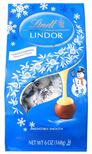 Lindt LINDOR Snowman Milk & White Chocolate Truffles - Limited Edition Holiday Flavor 6oz Package