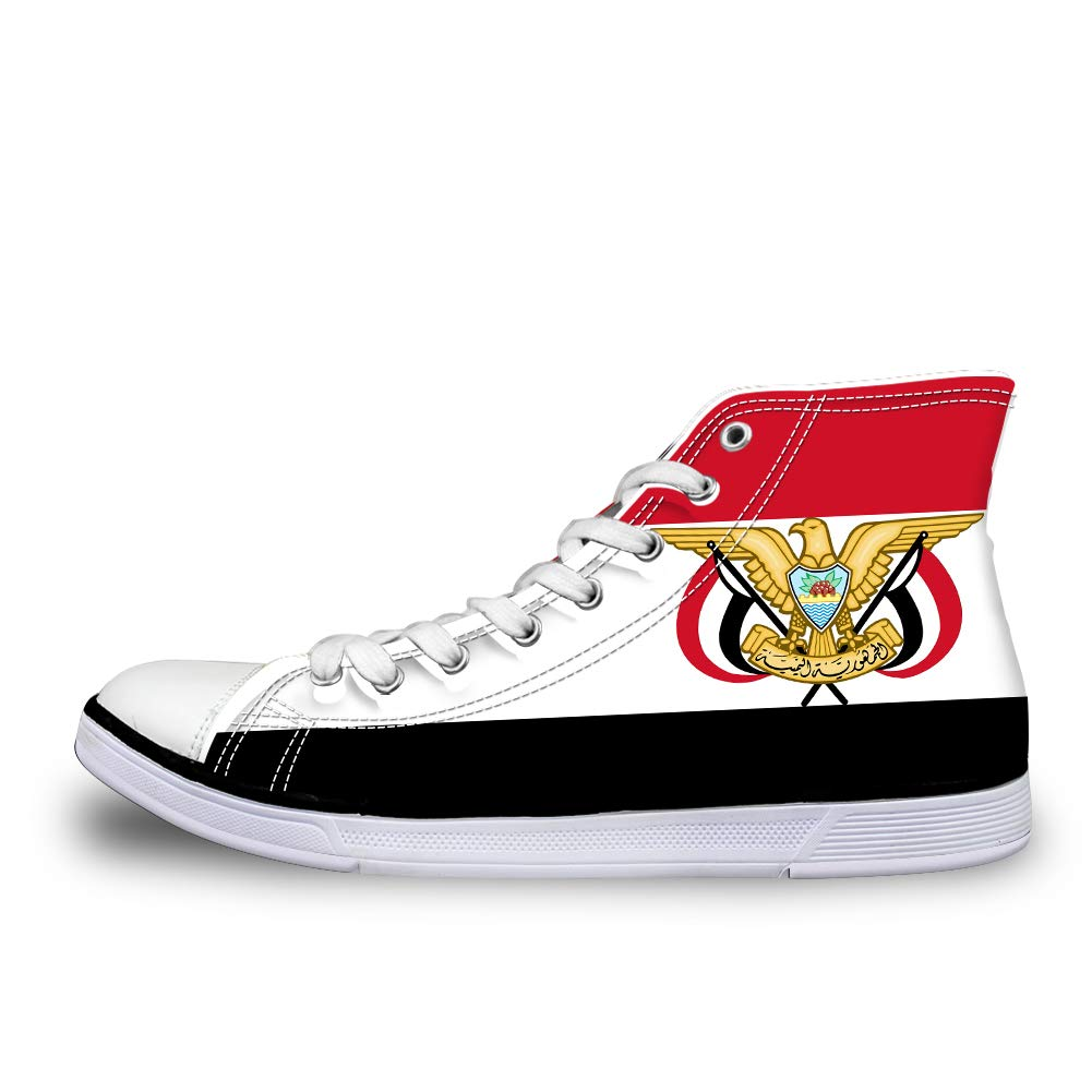Canvas High Top Sneaker Casual Skate Shoe Mens Womens Yemen Flag National Emblem Side