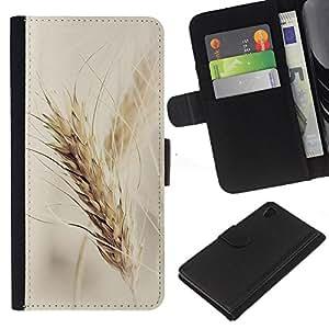 Sony Xperia Z4 / Sony Xperia Z4V / E6508 Modelo colorido cuero carpeta tirón caso cubierta piel Holster Funda protección - Rye Crop Fields Vignette Farming Fall