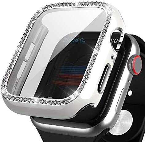 Haojavo Apple Watch Case with Screen Protector for Apple Watch Series 6/5/4/SE 44mm, New 3-D Full Cover Crystal Bling Diamond Rhinestone Ultra-Thin Bumper Protective Case for iWatch 44mm Accessories