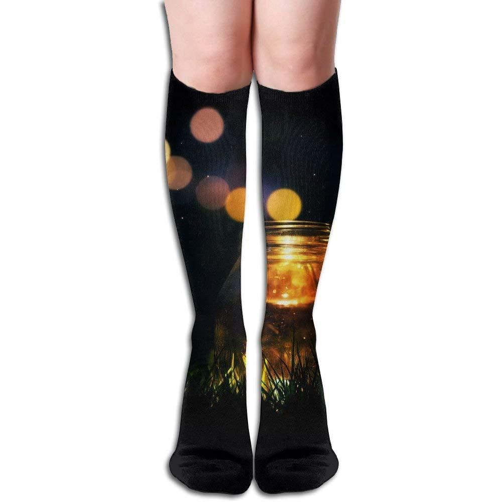 Unisex Firefly Glass Bottle Casual Athletic Running Long Socks Novelty Knee High Sock
