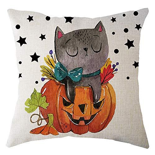 HomeMals Halloween Pumpkin & Little Witch Cotton Linen Home Decor Pillowcase Throw Pillow Cushion Cover -