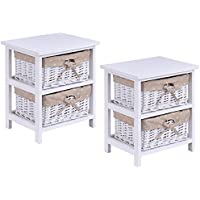 Giantex Set Of 2 Wooden Bedside Table Cabinet Bedroom Furniture W/ 2 Wicker Rattan Drawers
