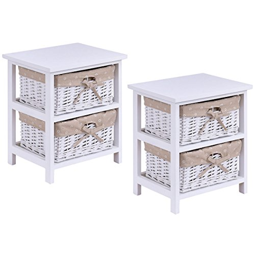 Giantex Set Of 2 Wooden Bedside Table Cabinet Bedroom Furniture W/ 2 Wicker Rattan Drawers by Giantex