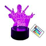 Amroe Cool Marvel Hero Deadpool 3D Creative Night Lights Remote 7 Color Gradient Change LED Lights USB Charging Holiday Party Decorations Kid Gifts Christmas Gifts Bedroom Home (Remote Control)