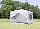 CHARAVECTOR 10 x 10 ft Heavy Duty Ez Pop Up Gazebo Canopy Tent for Outdoor Waterproof Party Wedding Exhibition Pavilion BBQ Beach with 4 Removable Sidewalls (White)