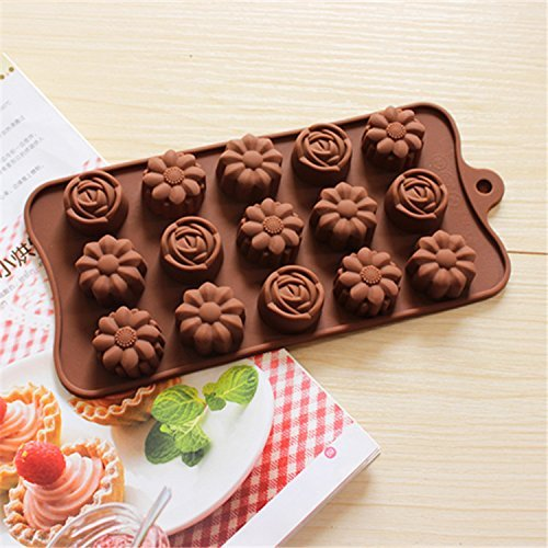 - BargainRollBack Rose with Camellia Flower Ice Cube Chocolate Soap Tray Mold Silicone Party Maker