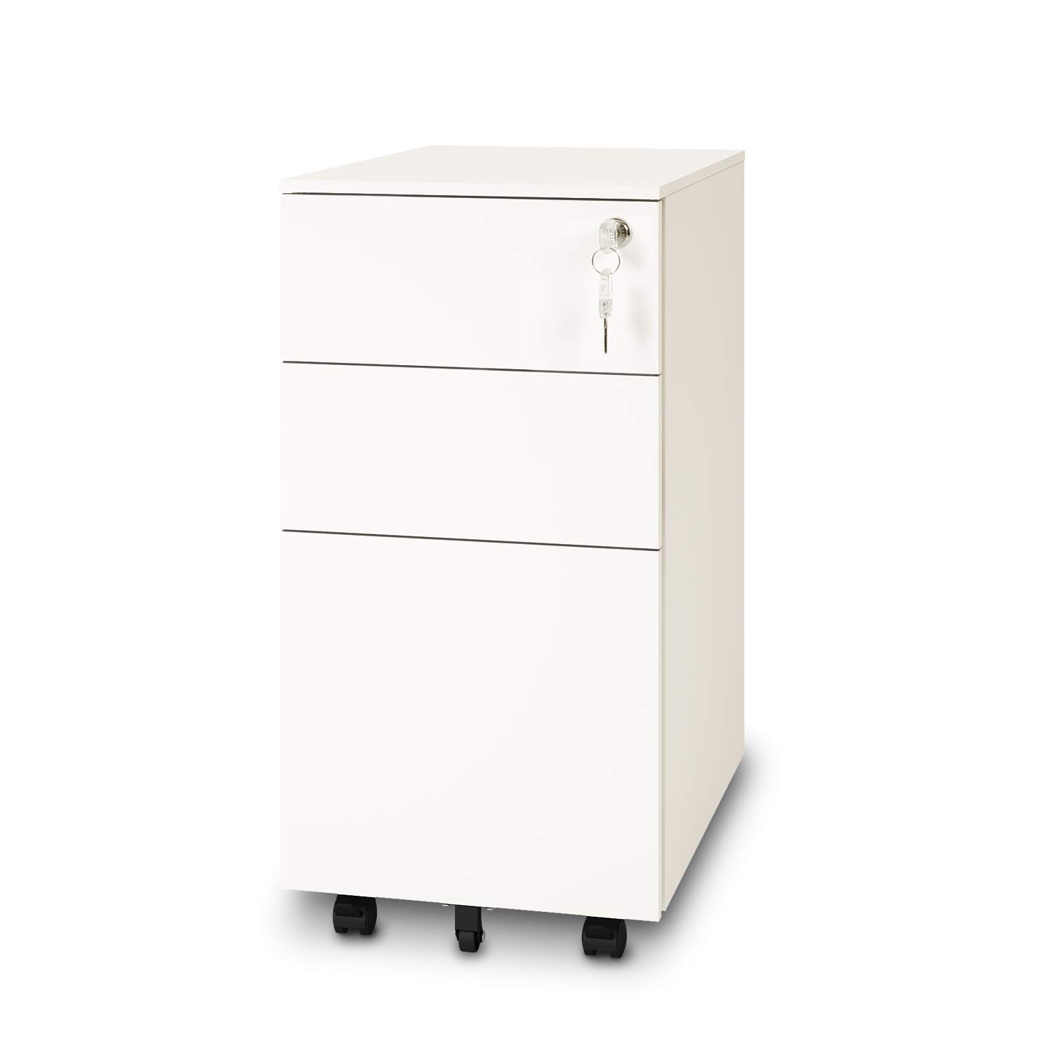 DEVAISE 3-Drawer Metal Slim File Cabinet with Lock, Mobile Pedestal in White