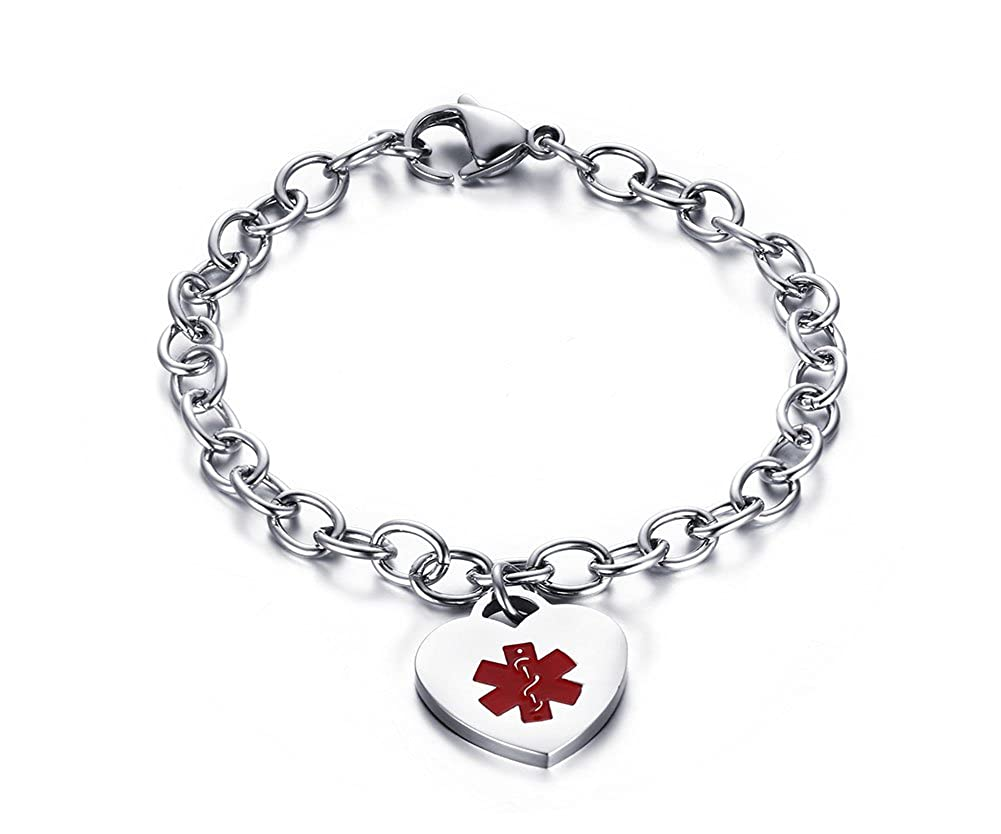 Free Custom Engraving-Stainless Steel Oval Link Chain Heart ID Tag Medical Alert Bracelets for Women, 8.26 Inches Mealguet MG-BR-311