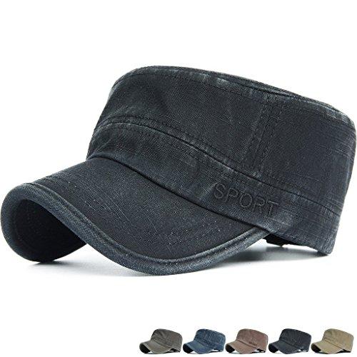 Adult Military Hat (Rayna Fashion Unisex Adult Flat Top Cadet Cap GI Army Patrol Military Beach Hat)