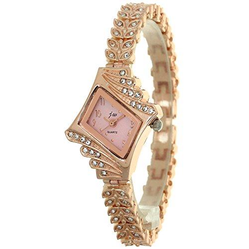 Women Rose Gold Designer Crystal Watch with Matching Crystal Prismatic Case Rhinestone Mounted Wheat Ears Bracelet Band Fashion Wristwatch