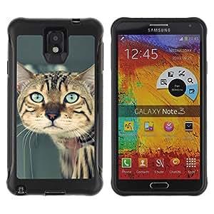 LASTONE PHONE CASE / Suave Silicona Caso Carcasa de Caucho Funda para Samsung Note 3 / Ocicat Savannah Serengeti Bengal Sad