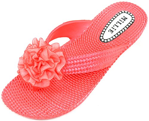 Red Summer Ladies Flops Flip Shoes Millie Womens Holiday Beach Sandals Flower OpZapgqvS