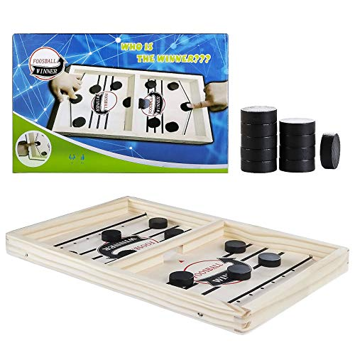 Yaluntalun Fast Sling Puck Games, Wooden Slingshot Boards Games Foosball Games Portable Desktop for Family and Kids