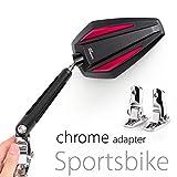 KiWAV Magazi Achilles motorcycle mirrors red fairing mount w/ chrome adapter for sports bike adjustable e
