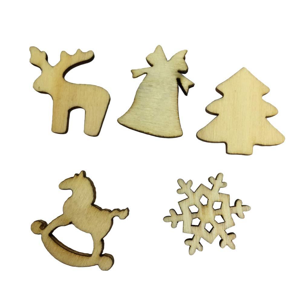 Toyvian Decorazioni Albero di Natale in Legno Decorazioni Natale da Appendere Natale Etichette Regalo Dischi di Legno 57 Pezzi