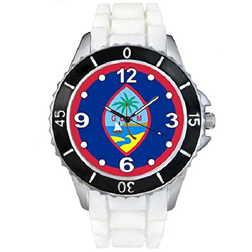 Timest – Guam Country Flag – Unisex Watch with Silicone Strap in White SE0574w
