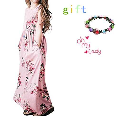sandals Miss Bei Girls Summer Casual Floral Print Sleeveless Beach Sundress Long Maxi Dress with Pockets Size 4-10T(Sleeveless Pink Pattern, 6-7Years)