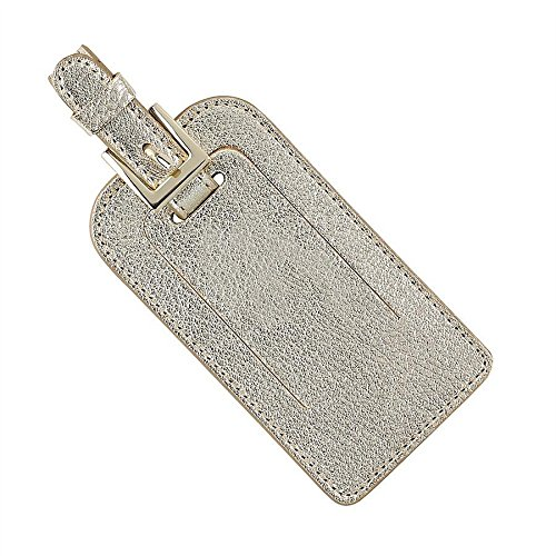 Graphic Image Metallics Leather Luggage Tags, White Gold