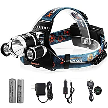 TOTOBAY Waterproof 4 Modes 3 LED Beams Headlamp, 18650 Rechargeable Batteries and Charger Included