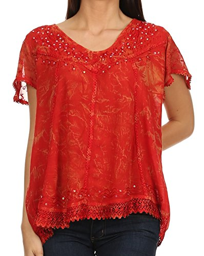 Boho Peasant Top Blouse - Sakkas 15774 - Hope Embroidery And Seqiun Accents Summer Blouse - Red - OS