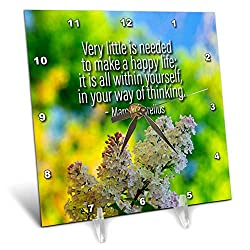 3dRose Alexis Design - Quotes About Life - Lilac Flowers. Marcus Aurelius Quote Very Little is Needed to Make - 6x6 Desk Clock (dc_302668_1)