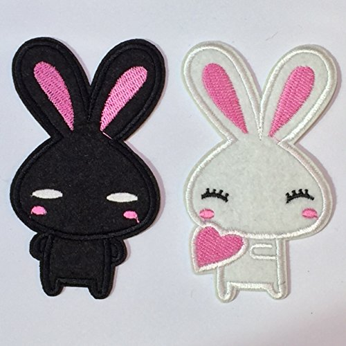 (2pcs Black and White Bunny Rabbit Embroidery Iron on Patch / Applique / Sewn On)
