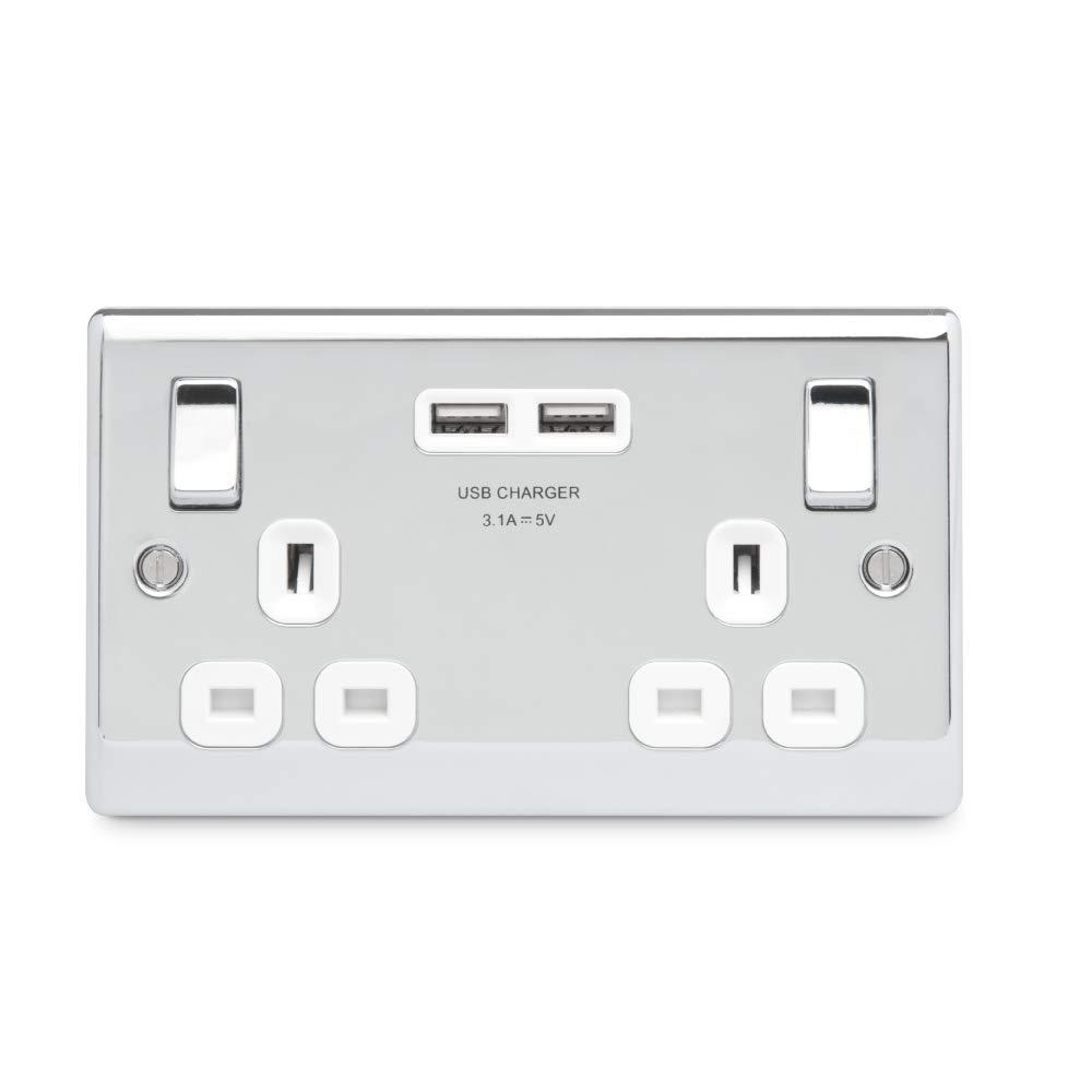 Bg Electrical Nexus Polished Chrome Double Switch Smart Wiring Electronics