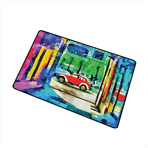 Axbkl Non-Slip Door mat Lakehouse Decor Collection Oil Painting View from Colorful Passage Psychedelic Art Retro Car Moving on The Way in Town Picture W35 xL59 Breathability Red Blue Green (Best Way To Sand A Car Before Painting)