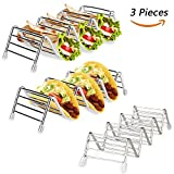 Kspowwin 3 Pack Stainless Steel Taco Holders Stand Taco Rack W Space for 9 to 12 Hard or Soft Shell Tacosack