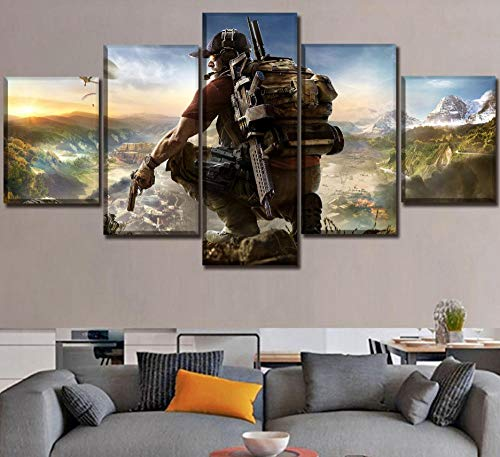 HNFSCLUB Home Decor On Canvas Printing Type Poster Modern Living Room Decor 5 Pieces Games Ghost Recon Wildlands Paintings Wall Art No Frame(1mX2m)