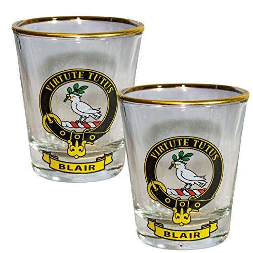 - Shot Glass Wee Dram Blair Clan Crest Gold Rim Set of 2 Whisky Tots
