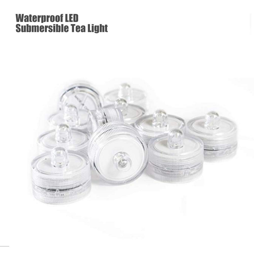 CHAQLIN Warm White Battery Powered Tea Light Underwater LED Lights Waterproof Flameless Candles 24-Pcs