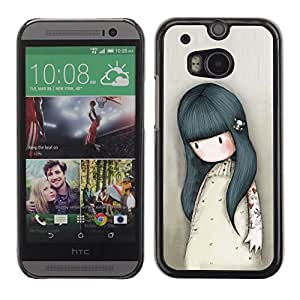 For HTC One M8,S-type® Mother Mom Kids Drawing Sad Deep - Arte & diseño plástico duro Fundas Cover Cubre Hard Case Cover
