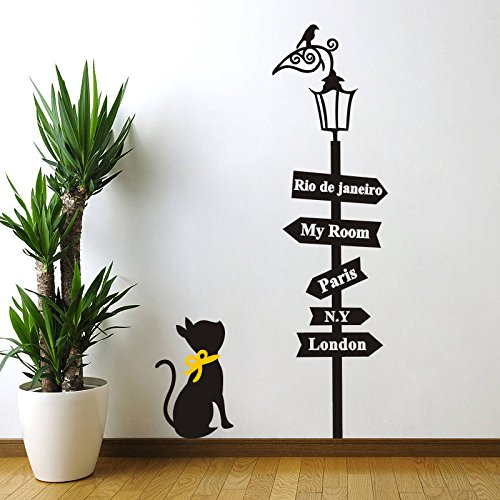 BIBITIME Valentine's Day Yellow Bowknot Cat Wall Decal Bird on Streetlight Decor Road Signboard Rio de Janeiro My Room Paris NY London Sign Quotes Sticker for Couple Bedroom