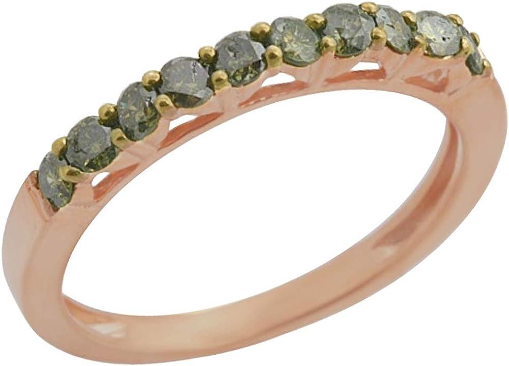 Goldenstar 0.50Ct Green Diamond Ring 925 Sterling Silver Half Eternity Band