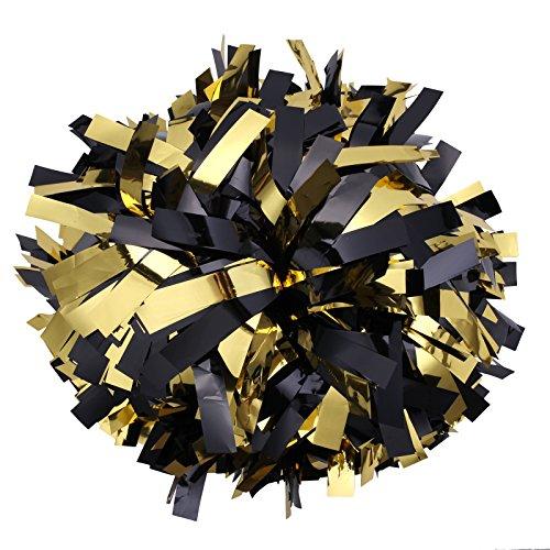 Metalic Cheerleader Cheerleading Pom pom 6 inch 1 Pair (Black And Gold Pom Poms)