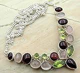 Peridot Quartz & Genuine Garnet & Rose Quartz 925 Silver Overlay Handmade Fashion Necklace Jewelry