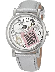 Juicy Couture Womens 1900810 Happy Silver Metallic Leather Strap Watch