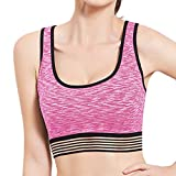 FEDULK Women's Fitness Bra Elastic Gym Sport Yoga Vest Tops High Impact Workout Activewear Stretch Blouse(Pink, Medium)