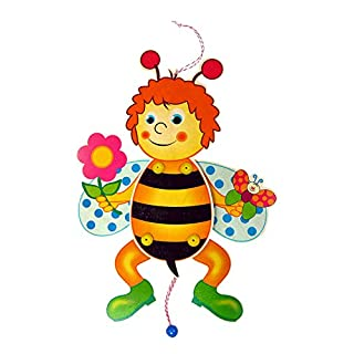 Hess Wooden Jumping-Bee with Flower Baby Toy, 40 cm, Multi-Color