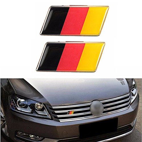 Hitommy2Pcs Aluminium German Germany Flag Badge Grille Emblem Decal Universal Decoration