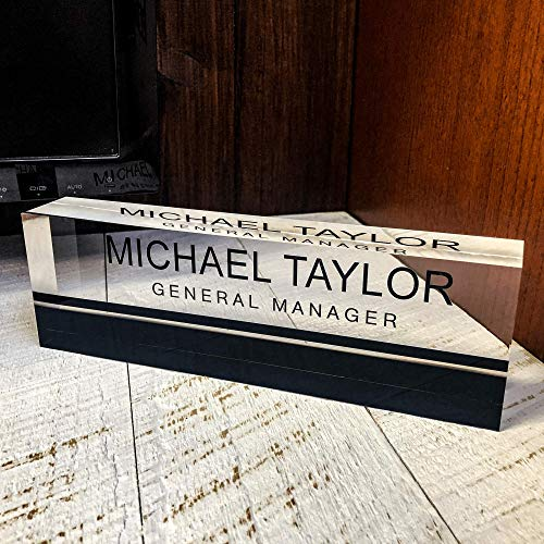 (Artblox Office Desk Name Plate Personalized - Printed on Premium Clear Acrylic Glass Block Unique Designer Name Plates for Desks Accessories - (8